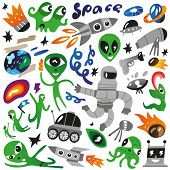 space icons - vector illustration