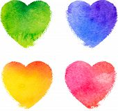 Colorful watercolor painted hearts vector set