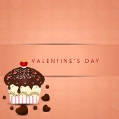 Romantic valentines day background with chocolate pan cake on vintage background.