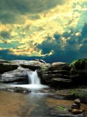 Waterfall With Clouds