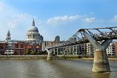 Millennium Bridge In London And St. Paul's Cathedral
