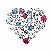 heart shaped colorful crystals diamonds precious stones beauty fashion illustration