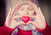 Heart Shape Love Symbol In Woman Hands With Face On Background Valentines Day Romantic Greeting Peop