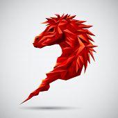 Red Geometric Horse
