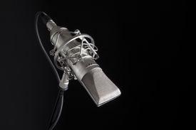 stock photo of recording studio  - Professional studio recording mic on black background - JPG