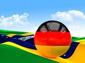 german soccer ball 3d image on white