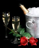 Champagne And Red Roses