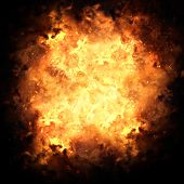 stock photo of fieri  - Realistic fiery explosion busting over a black background - JPG