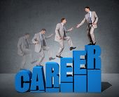 stock photo of climb up  - Climbing the corporate ladder of success in career concept for job self help - JPG