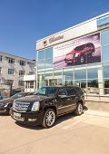 Samara, Russia - May 24, 2014: Office Of Official Dealer Cadillac. Cadillac Motor Car Division Is A
