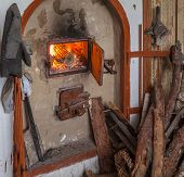 Firewood Near The Fireplace
