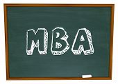 MBA abbreviation masters business administration chalk board college degree