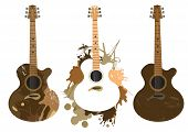 Three grunge stylized acoustic guitars