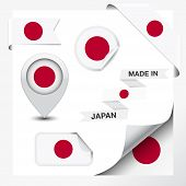 image of japanese flag  - Made in Japan collection of ribbon label stickers pointer badge icon and page curl with Japanese flag symbol on design element - JPG