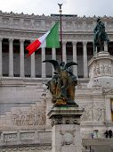 ROME, ITALY-April 28, 2014: The National ,monument A Vittorio Emanuele Ii On The The Piazza Venezia