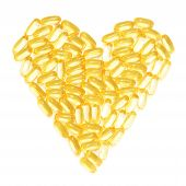 Cod liver fish oil supplements in a healthy heart shape
