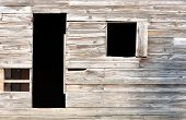 Simple door and window of an old 1800s American settler home at Cades Cove, Tennessee