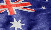 Oblique view of the Flag of Australia