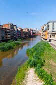 Picturesque Houses On The River In Girona, Spain