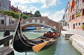 Gondola on a beautiful canal in Venice, Italy