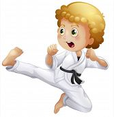 foto of karate-do  - Illustration of a cute little boy doing karate on a white background - JPG