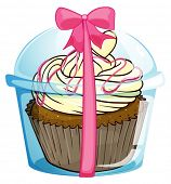 Illustration of a disposable cub with a cupcake on a white background