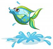 Illustration of a cute fish at the sea on a white background