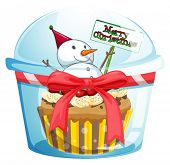 Illustration of a disposable cup with a cupcake and a snowman inside on a white background