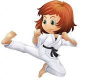 Illustration of a brave young lady doing karate on a white background