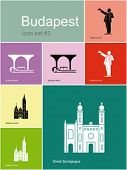 Landmarks of Budapest. Set of flat color icons in Metro style. Editable vector illustration.