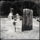 stock photo of civil war flags  - Instagram filtered style image of a Civil War era grave and American Flag - JPG