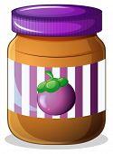 Illustration of a jar of eggplant jam on a white background