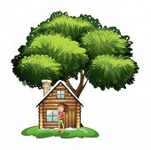 Illustration of a cute girl outside the wooden house under the tree on a white background