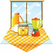 pic of blender  - Illustration of a table with a blender and containers on a white background - JPG