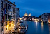 picture of academia  - View of Grand Canal in Venice Italy from the Academia Bridge after the sunset - JPG