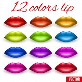 Shades Of Beautiful Luscious Multicolor Lips. Vector Illustration.