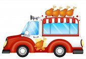 Illustration of a vehicle selling fried chicken legs on a white background
