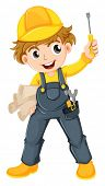pic of jumpsuits  - Illustration of a young mechanic on a white background - JPG