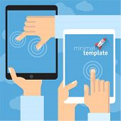 Modern and stylish retro flat vector template of  digital tablet with touch screen gestures.