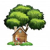 Illustration of a house under the tree with a little boy playing on a white background