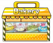 Illustration of a bakery stall on a white background