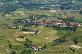 Green hills and vineyards of Langhe area in Piedmont, Northern Italy (view from above).