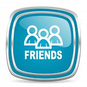 friends blue glossy icon