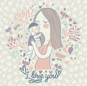 Cartoon vector card with mother and child in flowers and butterflies. Mothers day postcard design. Vector floral background with mama and son. I love you.