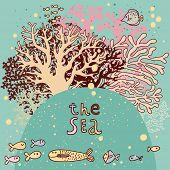 Vintage vector background with corals and fishes. Underwater live card. Summer vacation concept card