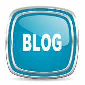 blog blue glossy icon