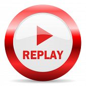 replay glossy web icon