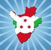 stock photo of burundi  - Burundi map flag on blue sunburst illustration - JPG