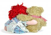 image of rag-doll  - Old rag doll with teddy bear isolated on a  white background - JPG