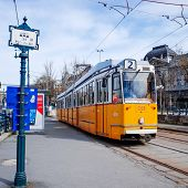 Typical,Tramway in Budapest, Hungary.-March 20: Typical,Tramway on March 20, 2014. Beautiful Tramway